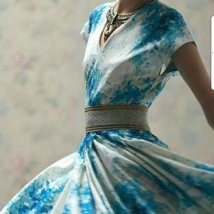 Anthropologie blue flowers circular dress